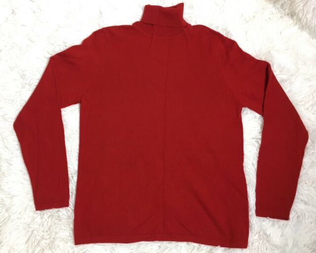 Charter Club 100% Cashmere Sweater Red Mock Turtleneck Long Sleeves Sz M 2  Ply b023f5484