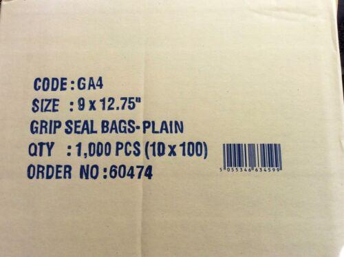 500 9 x 12.75 Grip Seal gripseal ZIP LOCK BAGS A4 buona qualità ancora più economico