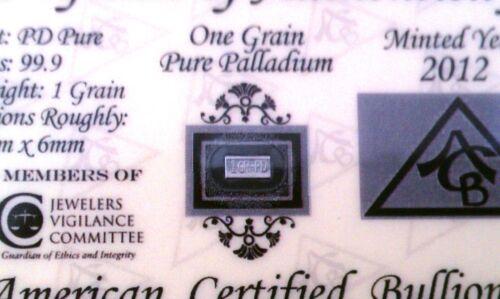 2 Pack of PD SOLID Palladium BULLION ACB MINTED 1GRAIN BAR 99.9 Pure W//COA