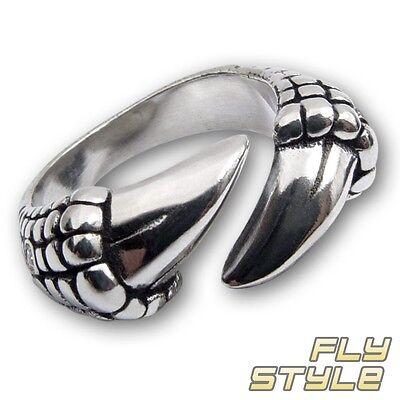 Edelstahl Ring Drachen Klaue silber kralle dragon gothic biker herren geschenk