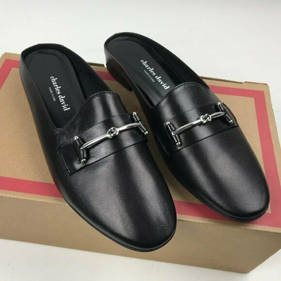 Charles David Classic Loafer Mule Melody Size 8.5 Black Leather (29)
