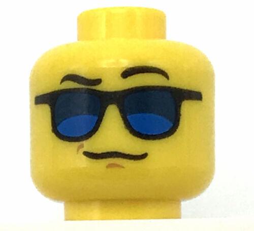 LEGO NEW MINIFIGURE HEAD WITH GLASSES SUNGLASSES RAISED EYEBROWS PIECE