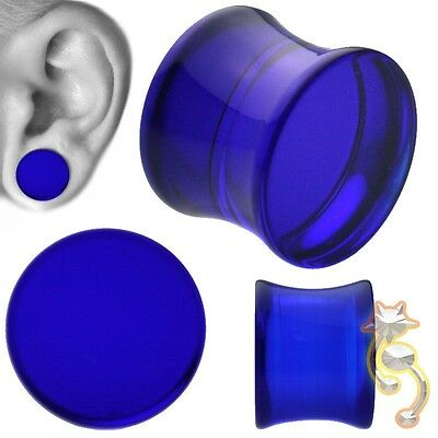 Blue Double Flare Plugs Solid Ear Gauge Body Jewelry Tunnel Earlets Earrings
