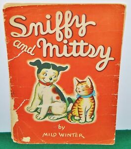 Sniffy-and-Mittsy-Large-Size-Linen-Childrens-039-Book-c-1938-Whitman-Publishing