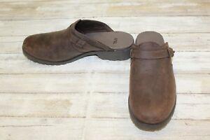 Teva-De-La-Vina-Waterproof-Distressed-Leather-Mules-Women-039-s-Size-7-Brown