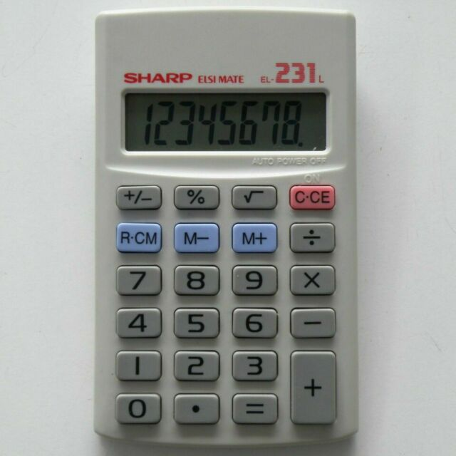 SHARP TAIWAN ELSI MATE EL-231L SOLAR CELL CALCULATOR LCD, NEW-OLD-STOCK, TESTED