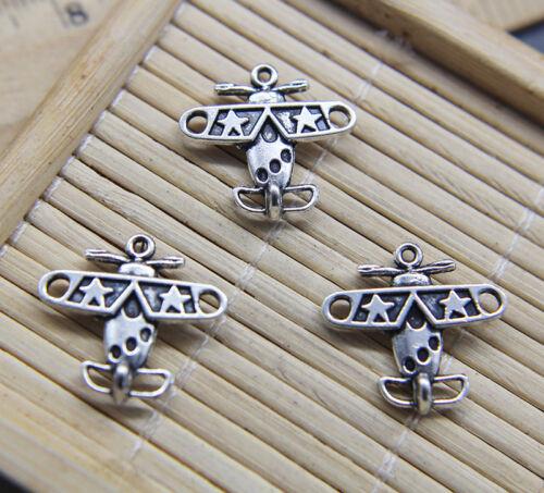 20//50//100pcs Retro Bomber Plane Alloy Charms Pendant Jewelry Making DIY 18*19mm