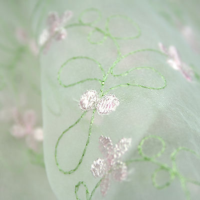 "Unotrim 100/% ORGANZA PASTEL MULTI COLOR EMBROIDERED LACE FABRIC  52/""-53/"""