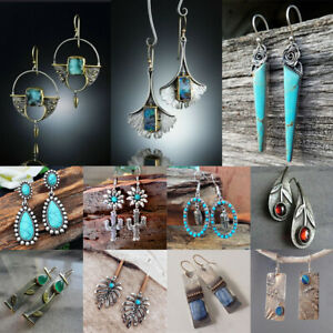 Gemstone-Turquoise-Hook-Earring-Hanging-Flower-Leaves-Dangle-Drop-Earrings