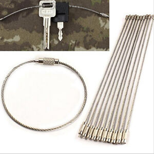 10x-Wire-Keychain-Cable-Key-Ring-Outdoor-Hiking-Survival-Gear-Stainless-SteelLs