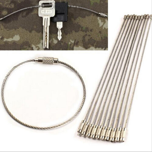 10x Stainless Steel EDC Cable Wire Loop Luggage Tag Key Chain Ring Screw Lock X