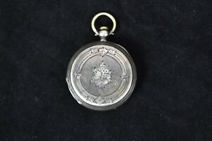 E-Bourquin-amp-Son-Locle-Pocket-Watch-1800s-Key-Wind-Turn-Fine-Silver-No-Key