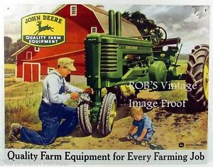 John Deere Poster Father Son Tractor Farming  1950 Art Print Ad Dealer  photo