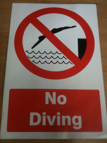 NO DIVING SIGN 200 X 300MM SELF ADHESIVE STICKY NEW.