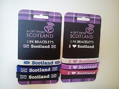 "SCOTTISH 3 PACK - RUBBER BRACELETS SUPPORT SCOTLAND ""I LOVE SCOTLAND"""