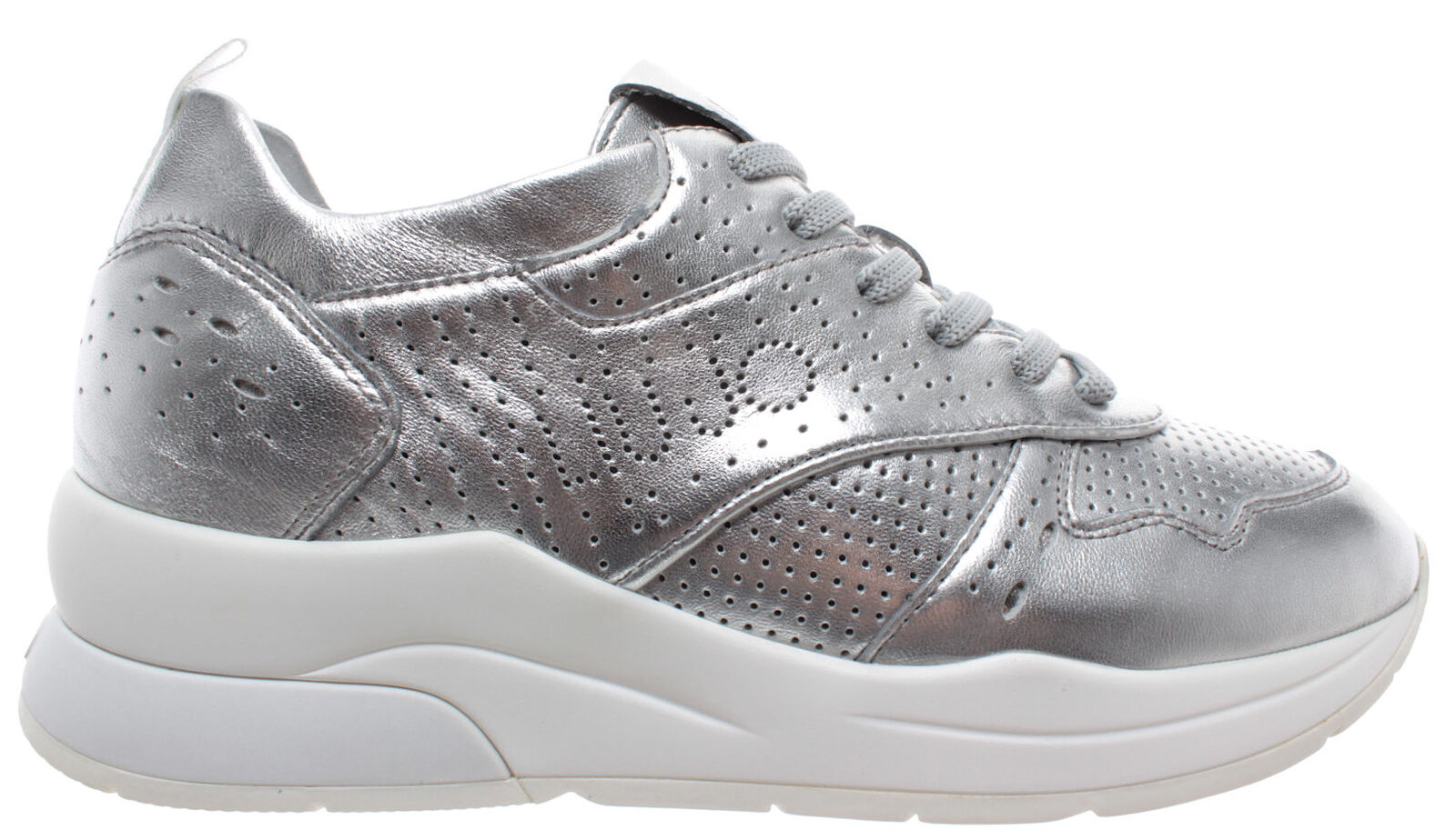Liu jo  milano karlie 14 scarpe da ginnastica pelle metallica argentoo donne scarpe nove nuove  negozio outlet