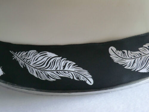1m 40mm QUALITY WIRED CHRISTMAS RIBBON BLACK WHITE SILVER FEATHERS GIFT BOWS