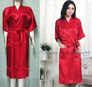 Unisex Lovers Men s Sleepwear Women s Kimono Satin Silk Plain Robe ... 65947d0ff