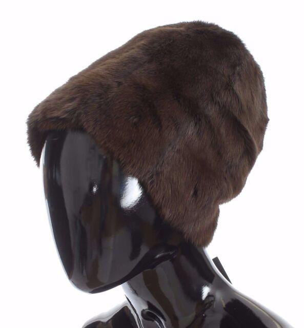 NEW  1600 DOLCE   GABBANA Hat Beanie Brown Weasel Fur Womens Cashmere s. 58    fc018e6c3e3