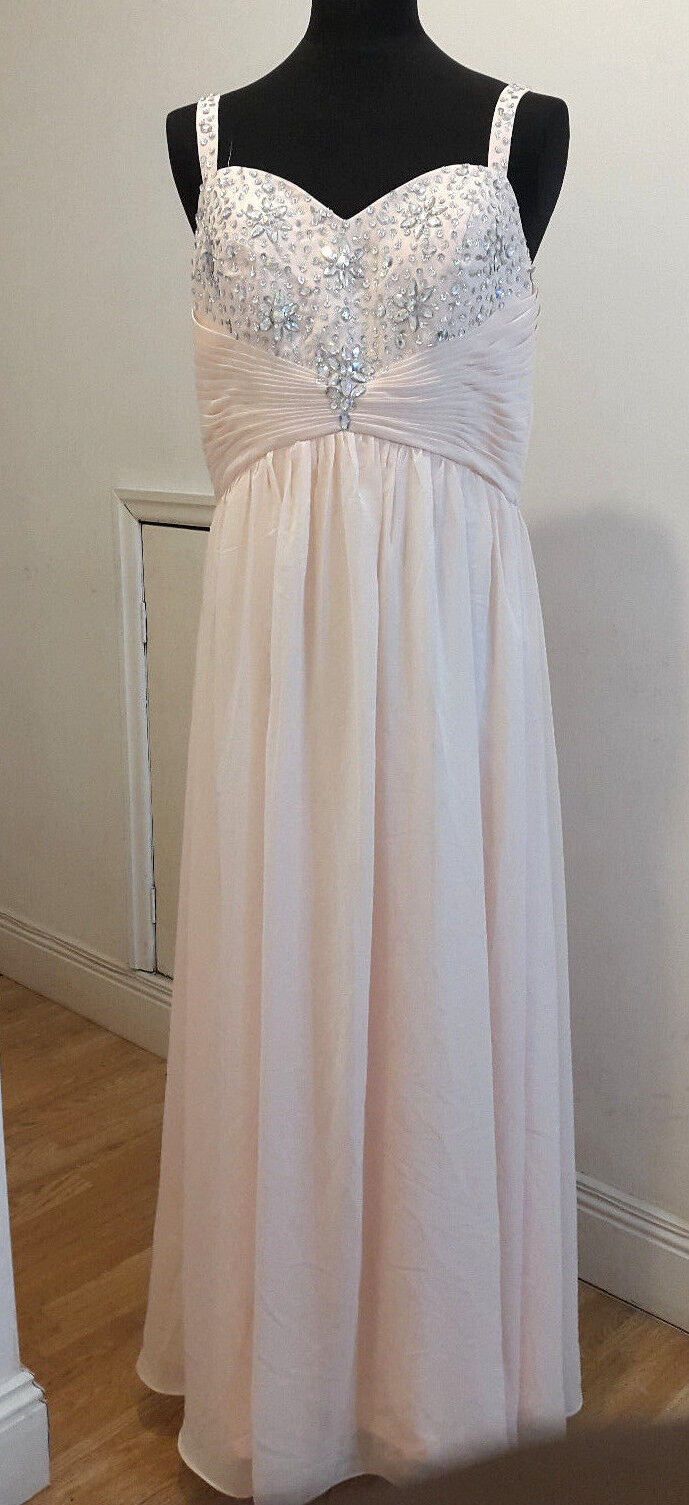 NEW Gorgeous Prom Dress Full Length Boned Bodice with Diamantes & Pleating -18