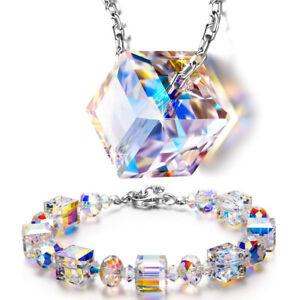 Aurora-Borealis-Bracelet-Made-with-Swarovski-Round-Crystals-18K-White-Gold