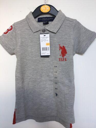 2 ans BNWT U.S Polo ASSN Polo T-shirt Gris garçons ou filles 10 ans
