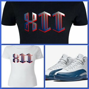 d39f914a3824e8 Details about LADIES WOMEN GIRLS TEE SHIRT to match AIR JORDAN 12 FRENCH  BLUE! GEO XII