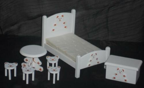 Bären-Kinderzimmer weiß Puppenstube  #14# Maßstab 1:12 7 tlg Miniatur f.d