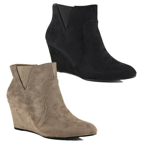 WOMENS CASUAL SLIM WEDGE HEEL CHELSEA STYLE ANKLE BOOTS LADIES SHOES SIZE 3-8