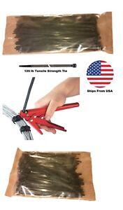 "Heavy Duty Cable Tie Tool Gun with 200 Cable Ties - Zip Ties 8"" & 14"" Combo Set"