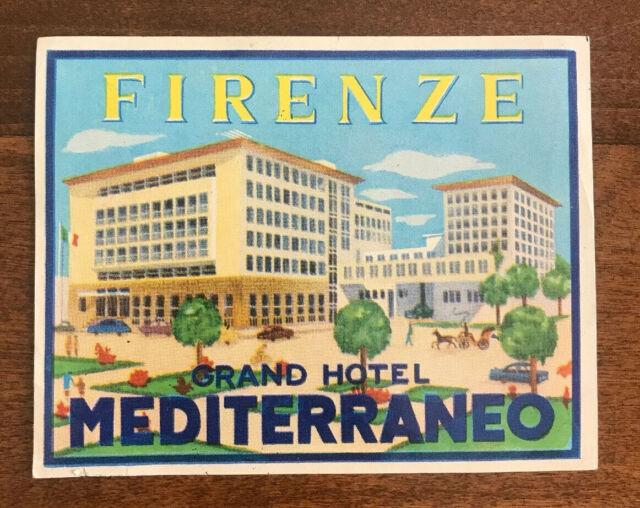 Vintage Hotel Luggage Label Firenze Grand Hotel Mediterraneo Florence Italy Ebay