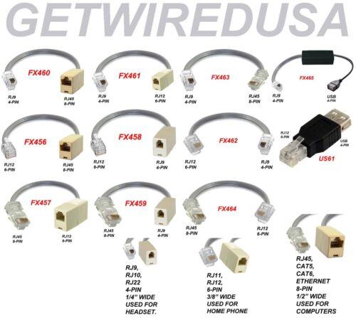 RJ45 CAT5 ETHERNET 8P8C 8-PIN to RJ12 RJ11 6P6C 6-PIN PHONE NETWORK ADAPTER MALE