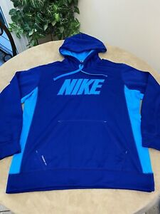 NIKE Men's Large Therma-Fit Logo Hoodie Blue
