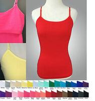 Zenana St-001 Short 18 Cami Tank Top W Shelf Bra Cotton/spandex Juniors S M L