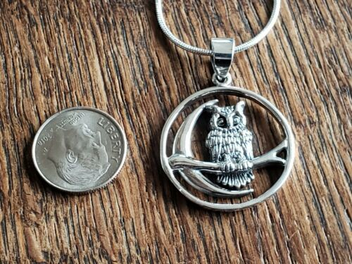 Details about  /Sterling Silver Owl on Branch with Crescent Moon includes Italian Snake Chain