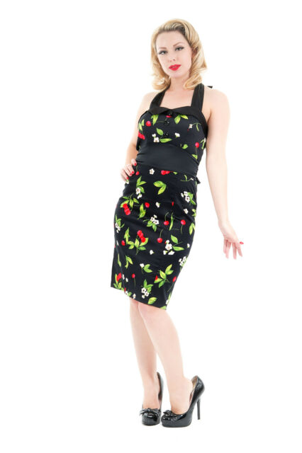 Ladies Black Cherry 40's 50's Vintage Classic Wiggle Dita Pencil Dress New 8-18