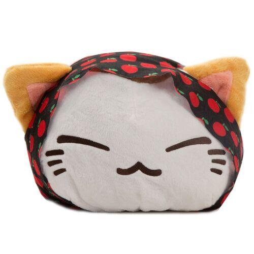 Plüschtier Katze Nemu Neko - Weiß mit Kirschen Kopftuch Schwarz Rot Nemuneko