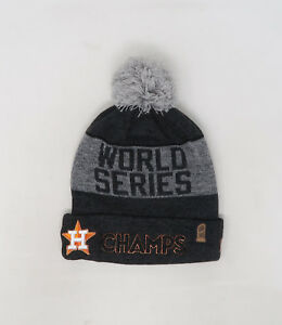 NEW ERA MLB Houston Astros Champs Charcoal Gray Cuffed Pom Knit Cap ... 412973bc0f7d
