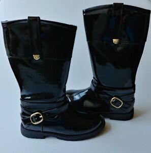 Zara-Girls-Toddler-Black-Patent-Leather-Boots-Size-9-5-US-Designer-Dress-Gold-9