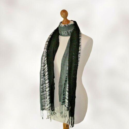 20 Gorgeous luxury ladies rich black scarf with lurex silver stripe FREE DELIVER