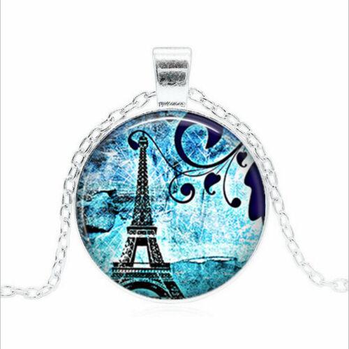 PARIS BLUES Tibet Argent Dôme En Verre Chaîne Collier Sautoir Pendentif Wholesale