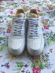 68ed950cb6cbe Details about NIKE Men's Air Force 1 '07 Leather Shoe White/Yellow Ochre,  Size 13 Used Fresh