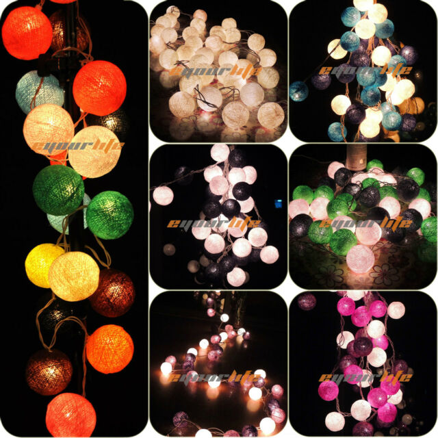 20/35 COTTON BALL FAIRY LED STRING LIGHTS WEDDING PARTY PATIO Christmas DECOR NU