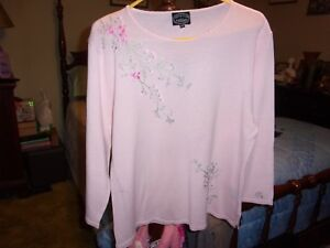 NWT-Woman-039-s-Carolyn-Taylor-Pale-Pink-Embroidered-Sweater-Size-L