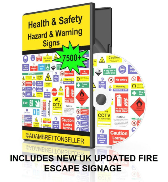 7000 Health And Safety Printable Warning Signs Posters Disc Dvd
