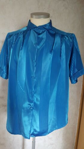 Long Gr damen Xl blau Bluse Glitzerstoff xrZxqFw