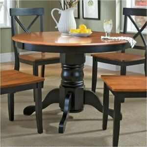 Details About Bowery Hill Round Pedestal Dining Table In Black And Cottage  Oak