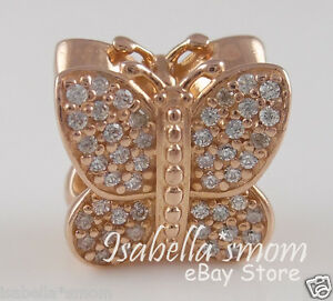 57b10ae9eae5b Details about SPARKLING BUTTERFLY Authentic PANDORA Rose GOLD Plated Charm  781257CZ w POUCH!