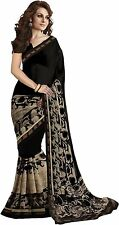 Black Bollywood Saree Indian Ethnic Party Wear Wedding Designer Sari With Blouse