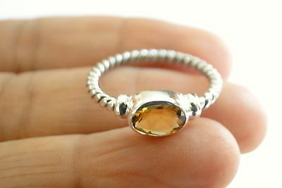 Oval Yellow Citrine Solitaire Sterling Silver Twisted Band Ring 6 6.25 7 7.5 8.5